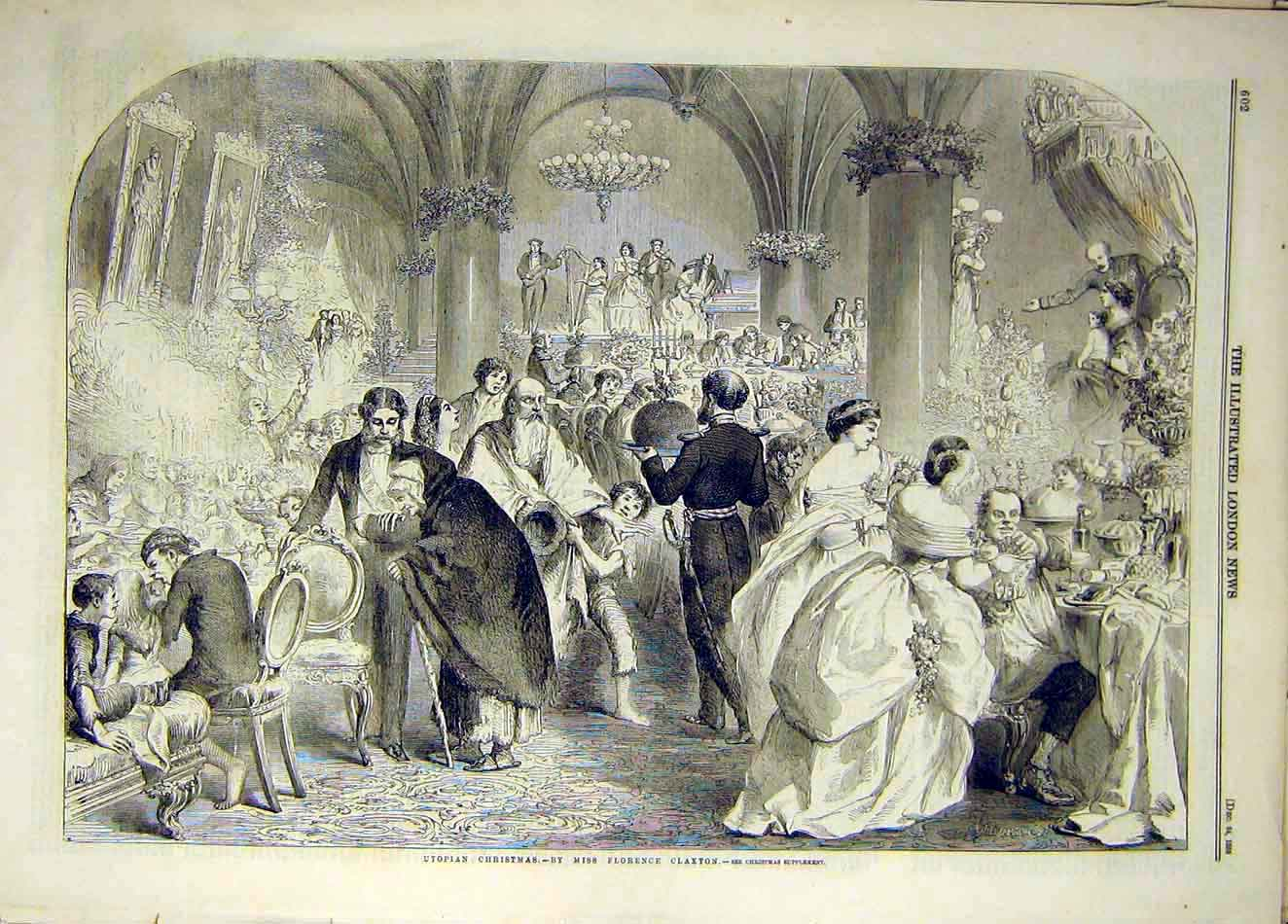 Print 1859 Christmas Claxton Celebrations 987921 Old Original