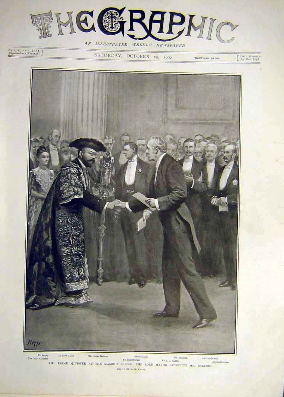 Print 1902 Prime-Minister Mansion House Mayor Balfour 007921 Old Original