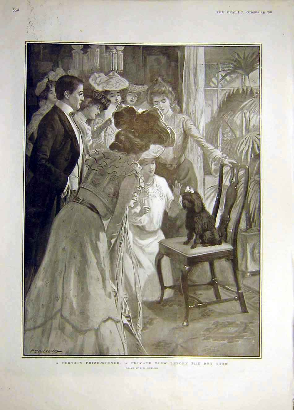 Print 1902 Prize-Winner Dog Show Hickling 037921 Old Original