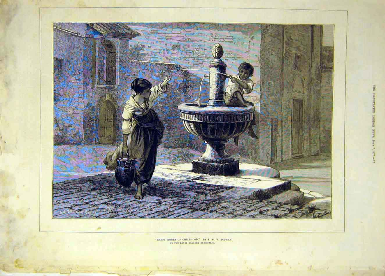 Print 1877 Happy-House Childhood Topham Fountain 117921 Old Original
