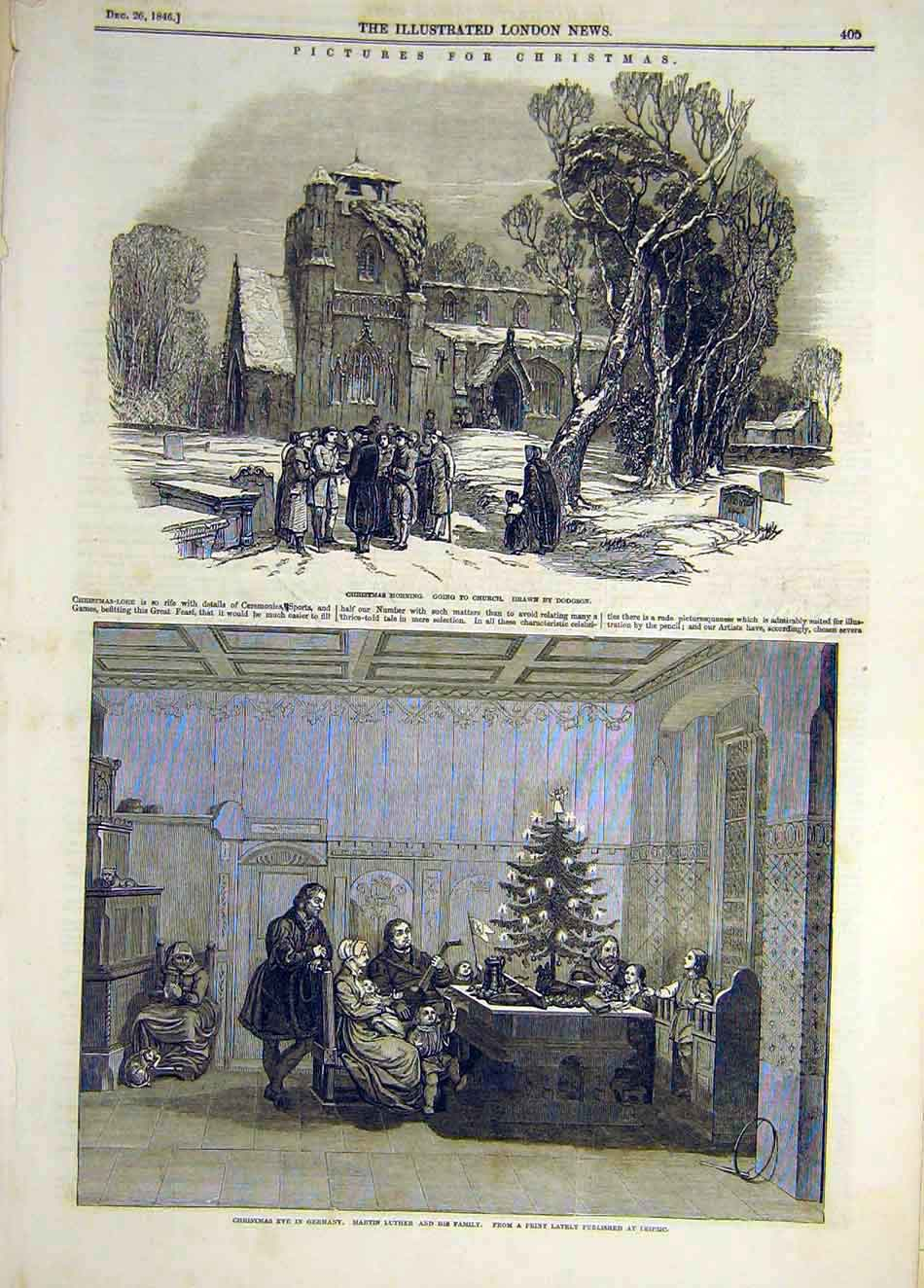 Print 1846 Christmas Church Dodgson Germany Luther Family 137921 Old Original