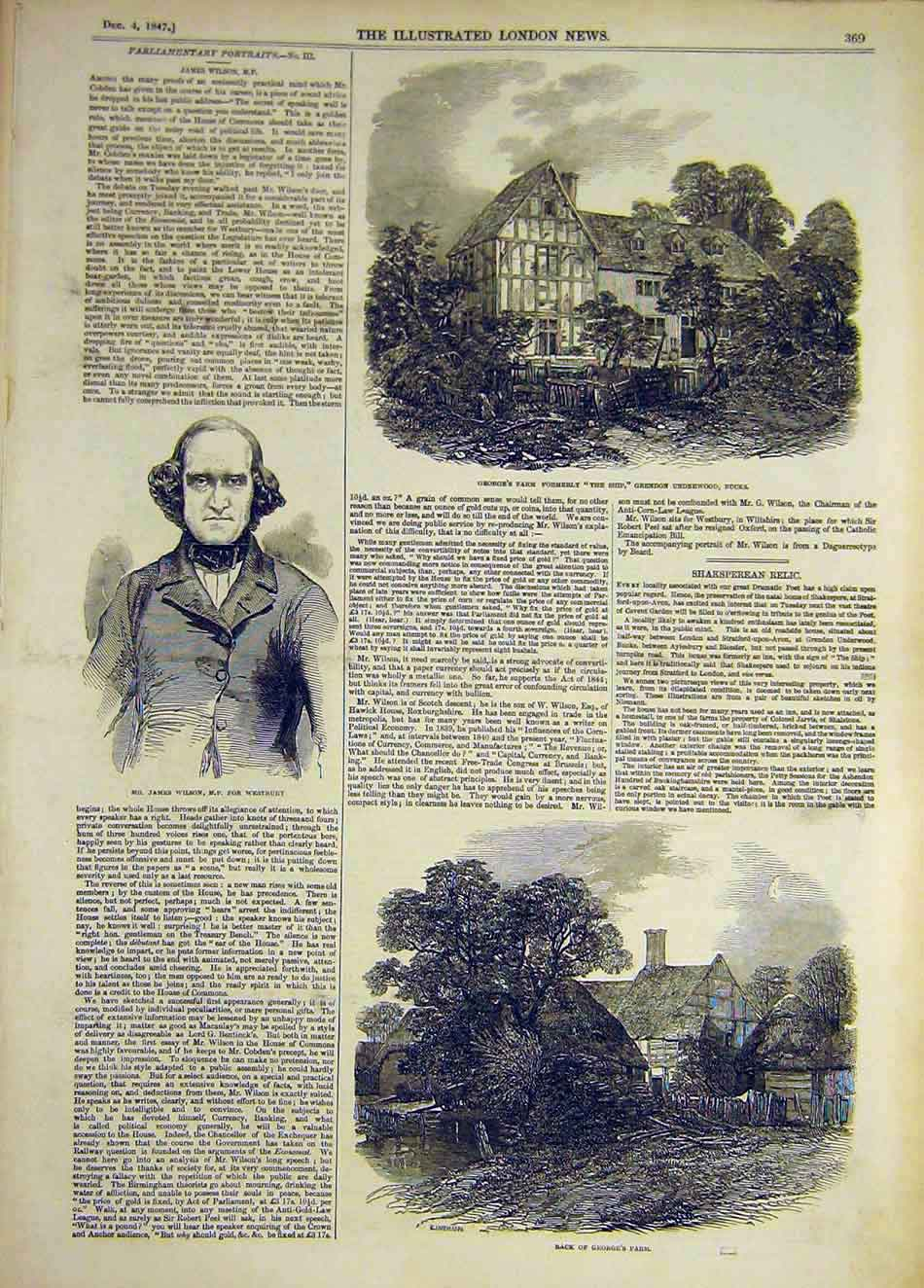 Print 1847 Wilson Westbury Grendon Bucks George'S Farm 227921 Old Original