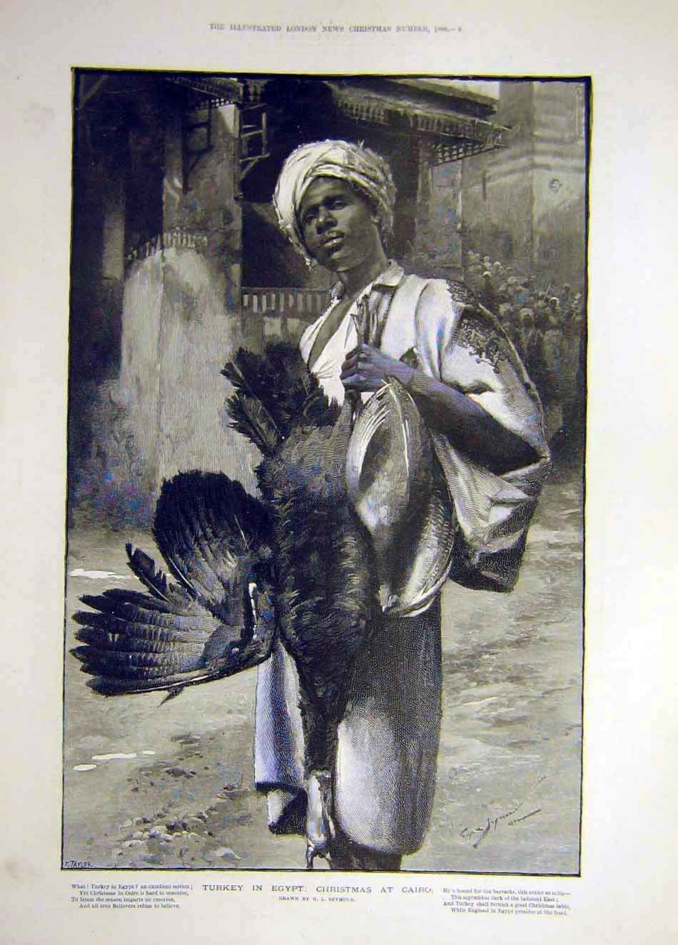 Print 1886 Turkey Egypt Christmas Cairo Seymour 267921 Old Original