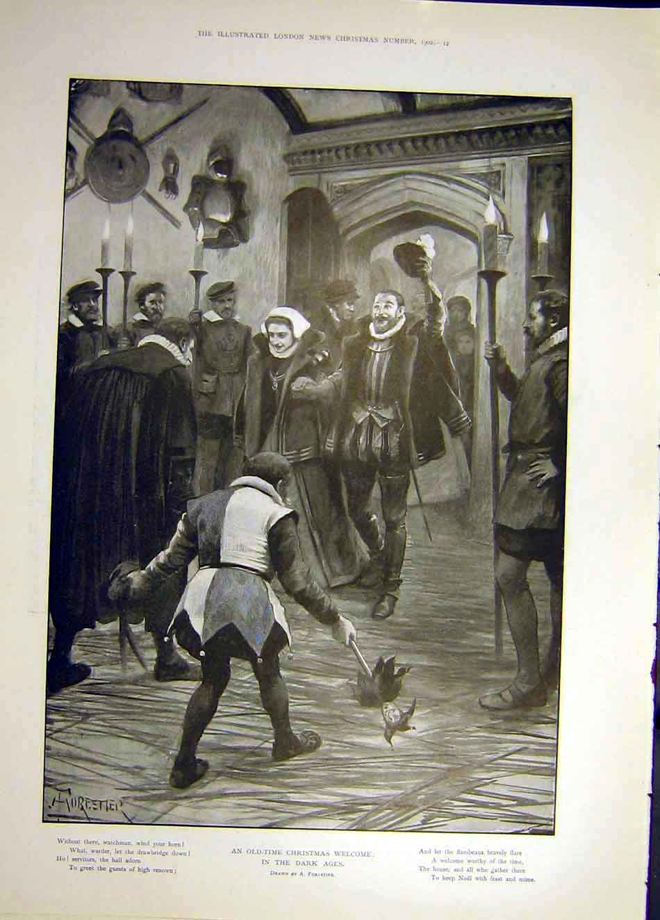 Print 1902 Christmas Welcome Dark-Ages Forestier Jester Lord 297921 Old Original