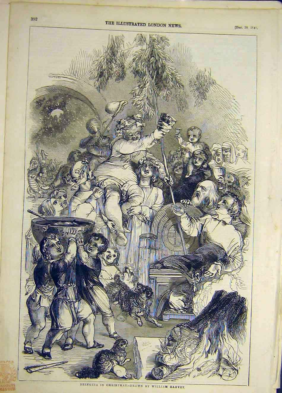 Print 1845 Christmas Harvey Sketch People Celebrations 367921 Old Original