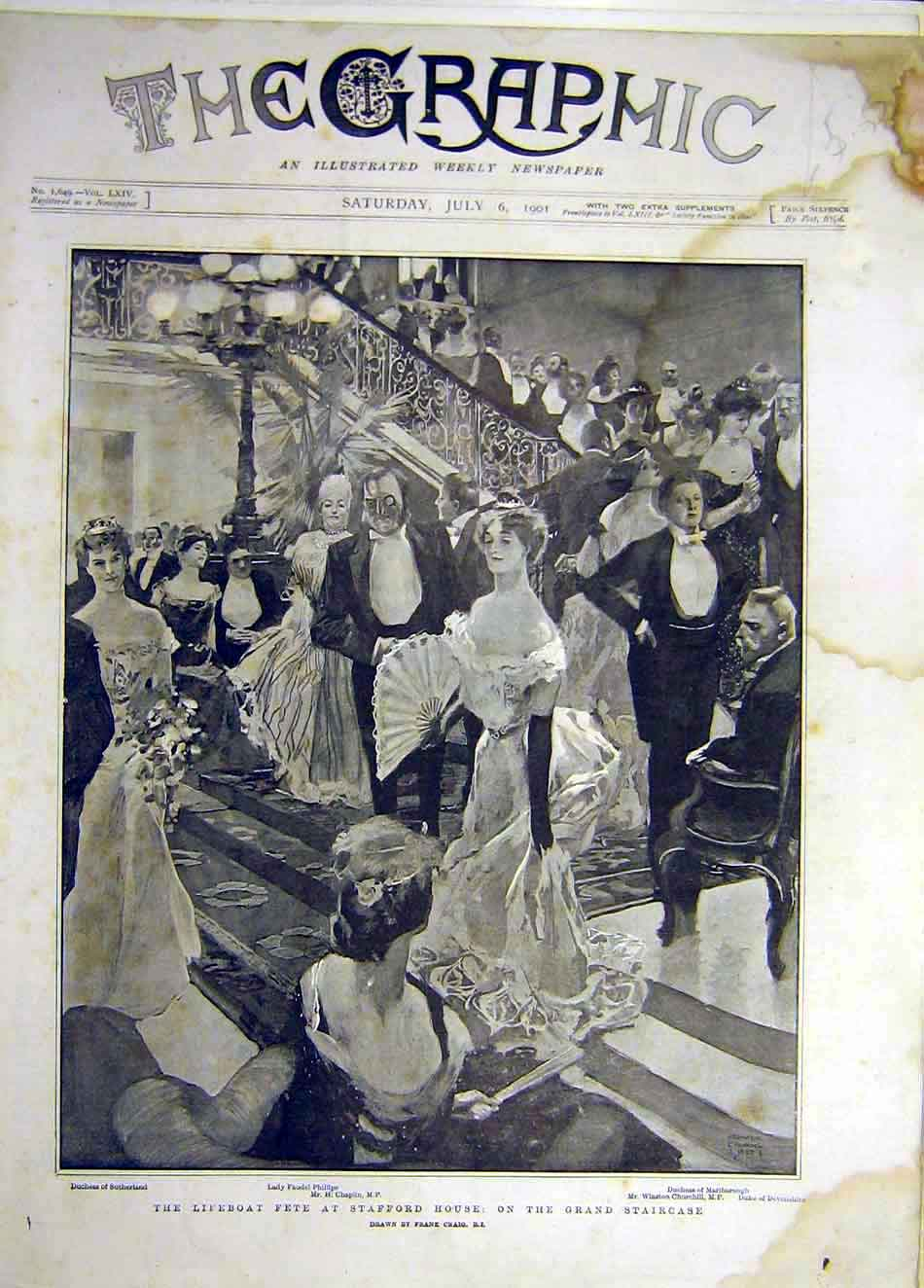Print 1901 Lifeboat Fete Stafford House Grand-Staircase 427921 Old Original