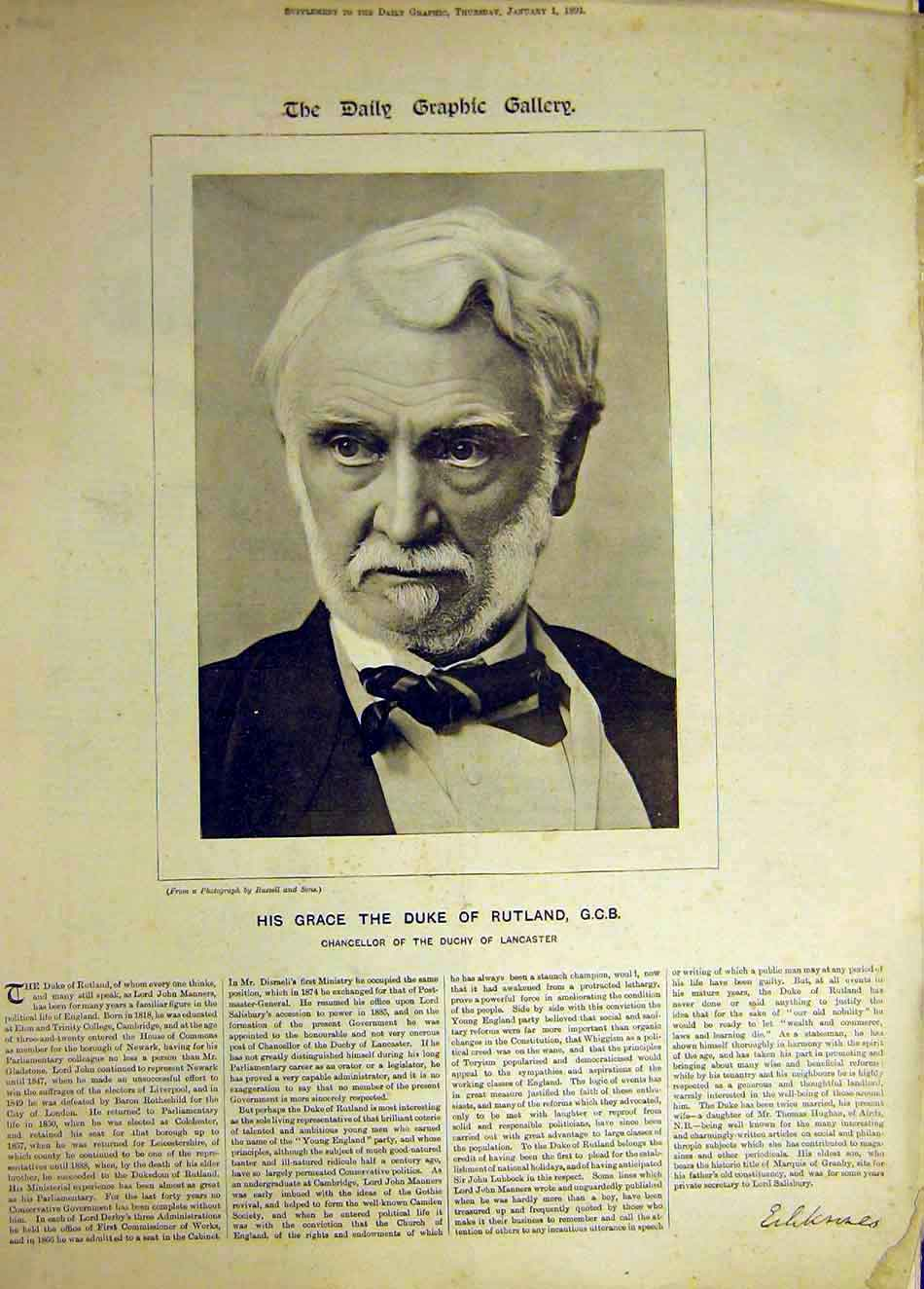 Print 1891 Portrait Duke Rutland Chancellor Lancaster 527921 Old Original