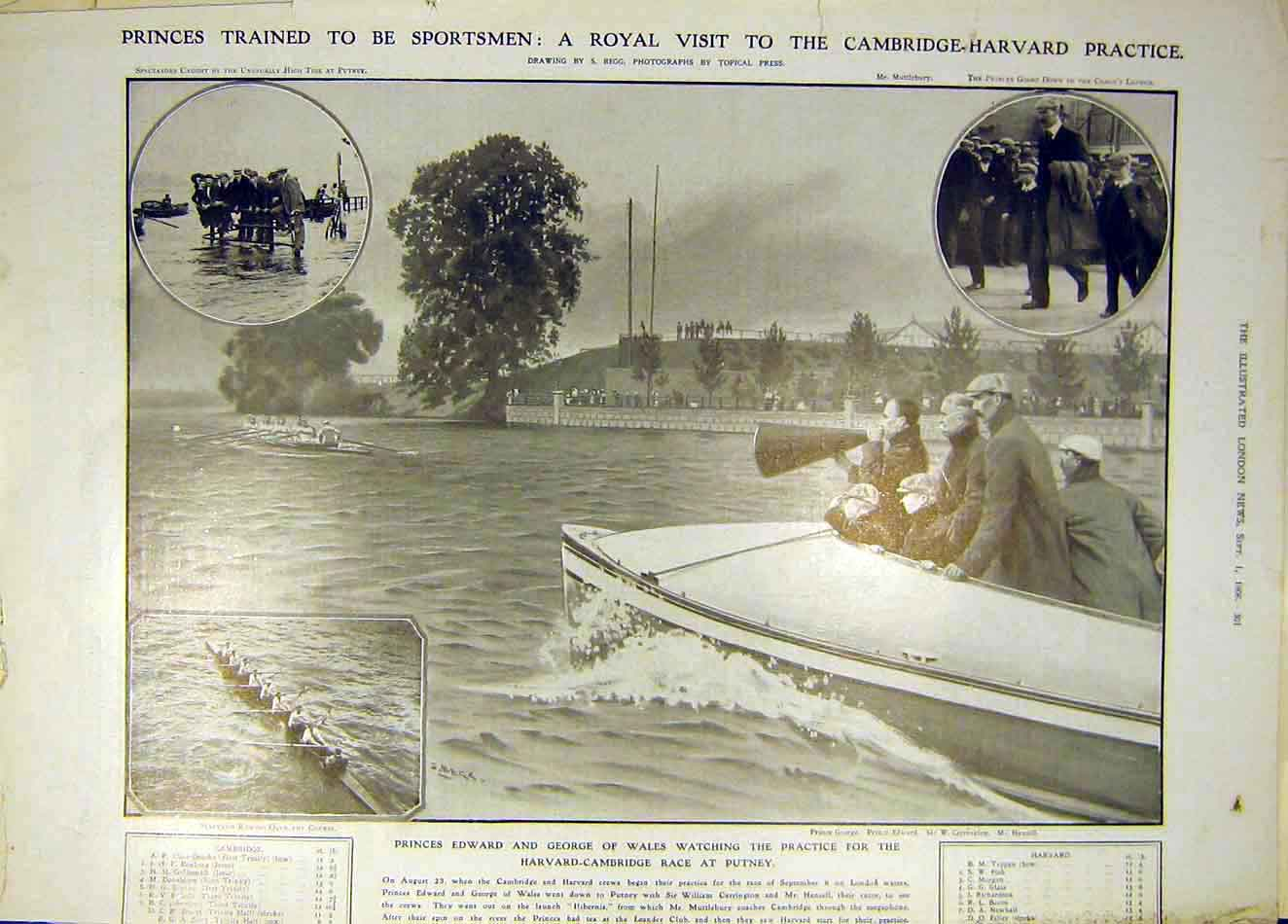Print 1906 Cambridge Harvard Practicve Boat Race Prince 587921 Old Original