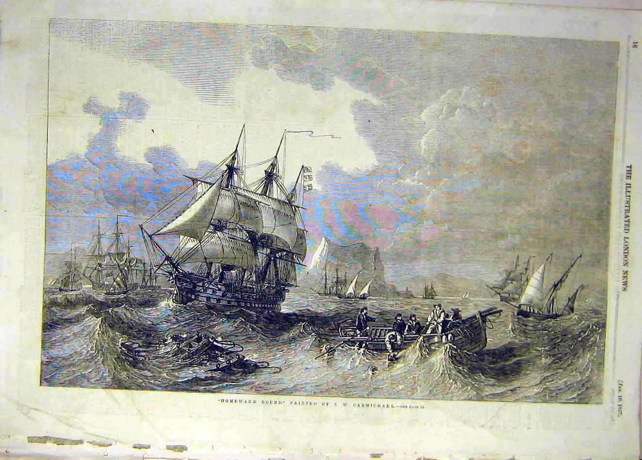 Print 1857 Homeward-Bound Carmichael Ships Boat Sea 667921 Old Original