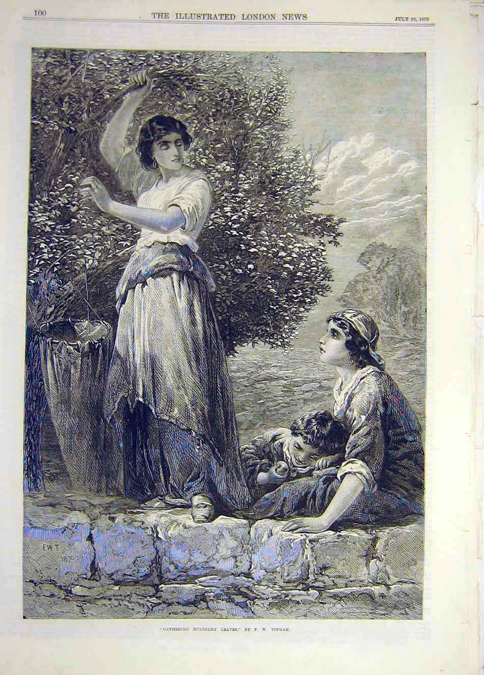 Print 1870 Mulberry Leaves Gathering Topham Ladies Child 717921 Old Original