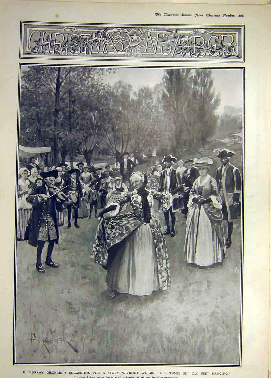 Print 1906 Gilchrist Forestier Dance Story People Christmas 767921 Old Original