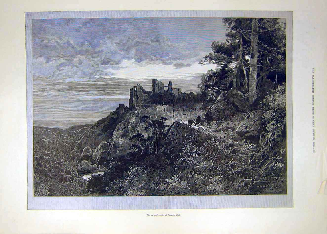 Print 1890 Ruin Castle Strudle Bad 817921 Old Original