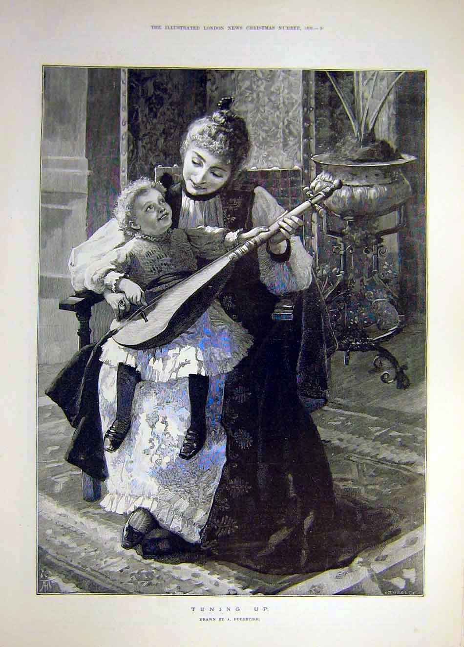 Print 1891 Tuning-Up Forestier Child Sitar Mother Lady Music 827921 Old Original
