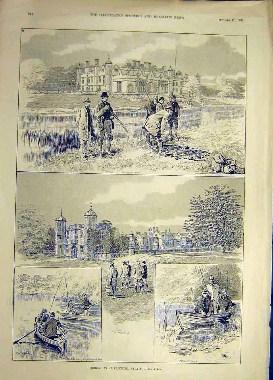 Print 1891 Fishing Charlecote Stratford-Upon-Avon 927921 Old Original