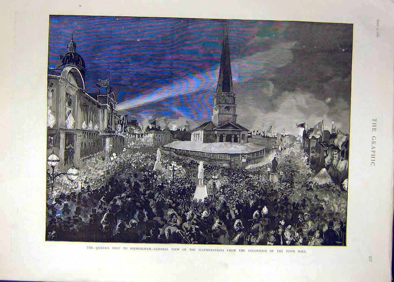 Print 1887 Queen Visit Birmingham Town Hall Illuminations 977921 Old Original