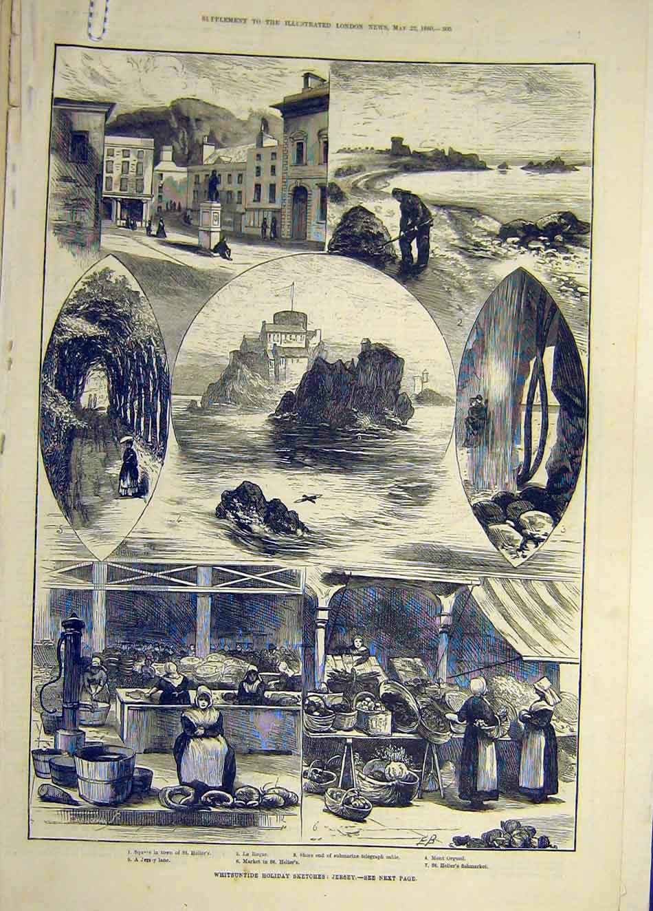 Print 1880 Whitsuntide Holiday Sketches Jersey Channel-Island 077921 Old Original