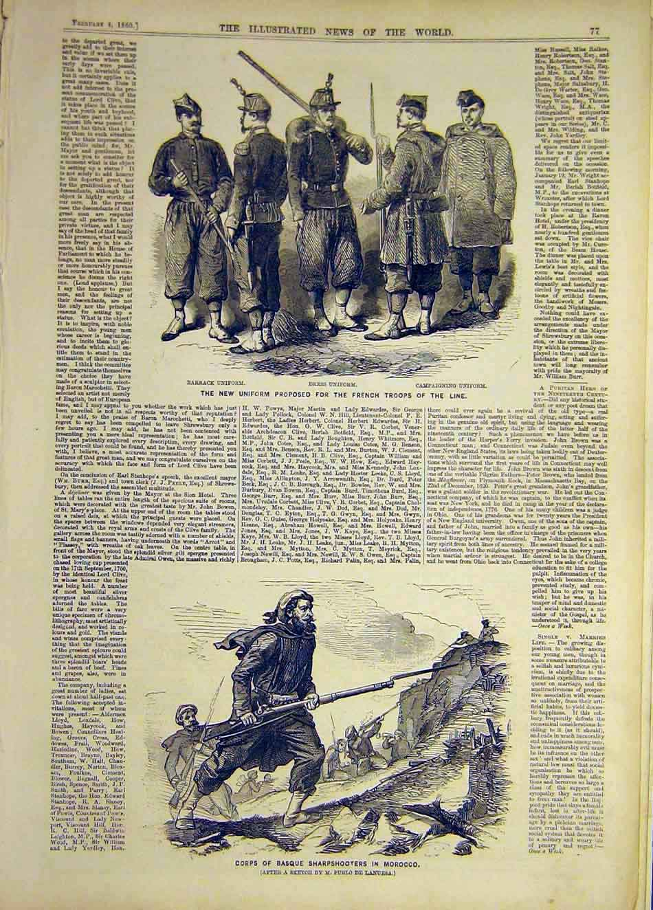 Print 1860 Uniform French Troops Corps Basque Morocco 097921 Old Original