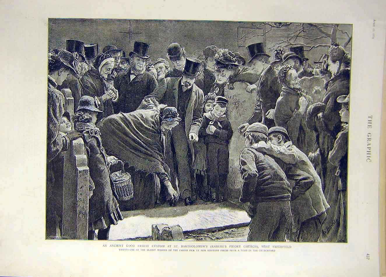 Print 1889 St Bartholomew'S Good-Friday Custom Church 127921 Old Original