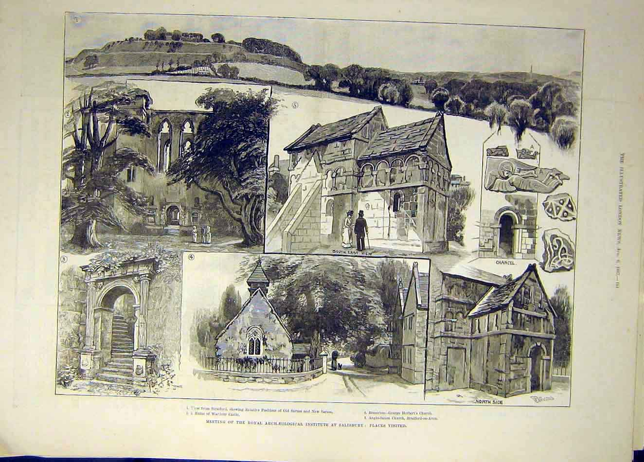 Print 1887 Salisbury Church Archaeological Society Wardour 287921 Old Original