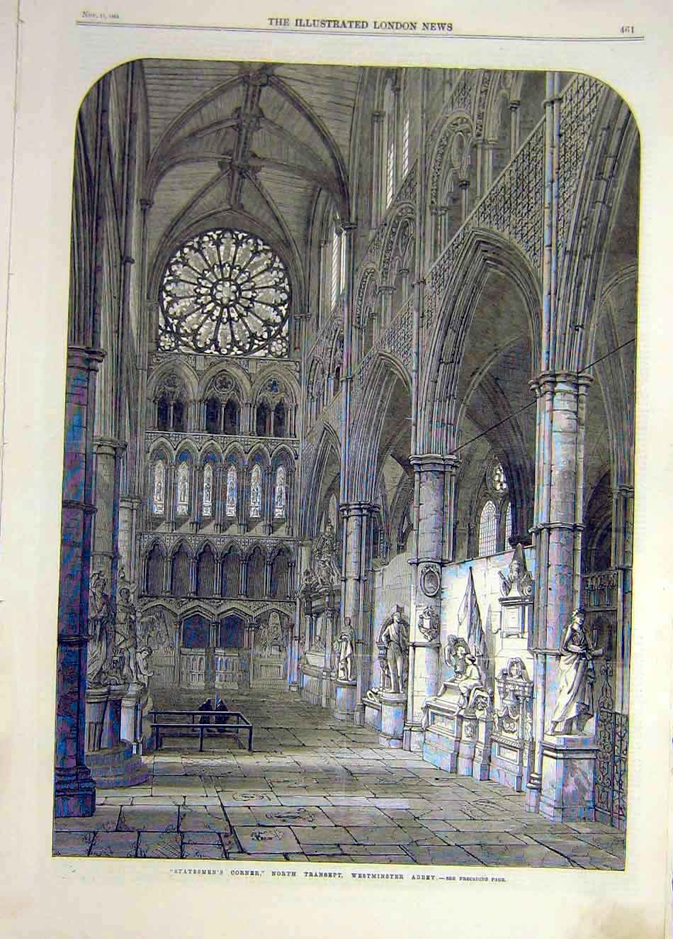 Print 1865 Statesmen'S Corner Westminster Abbey Building 347921 Old Original