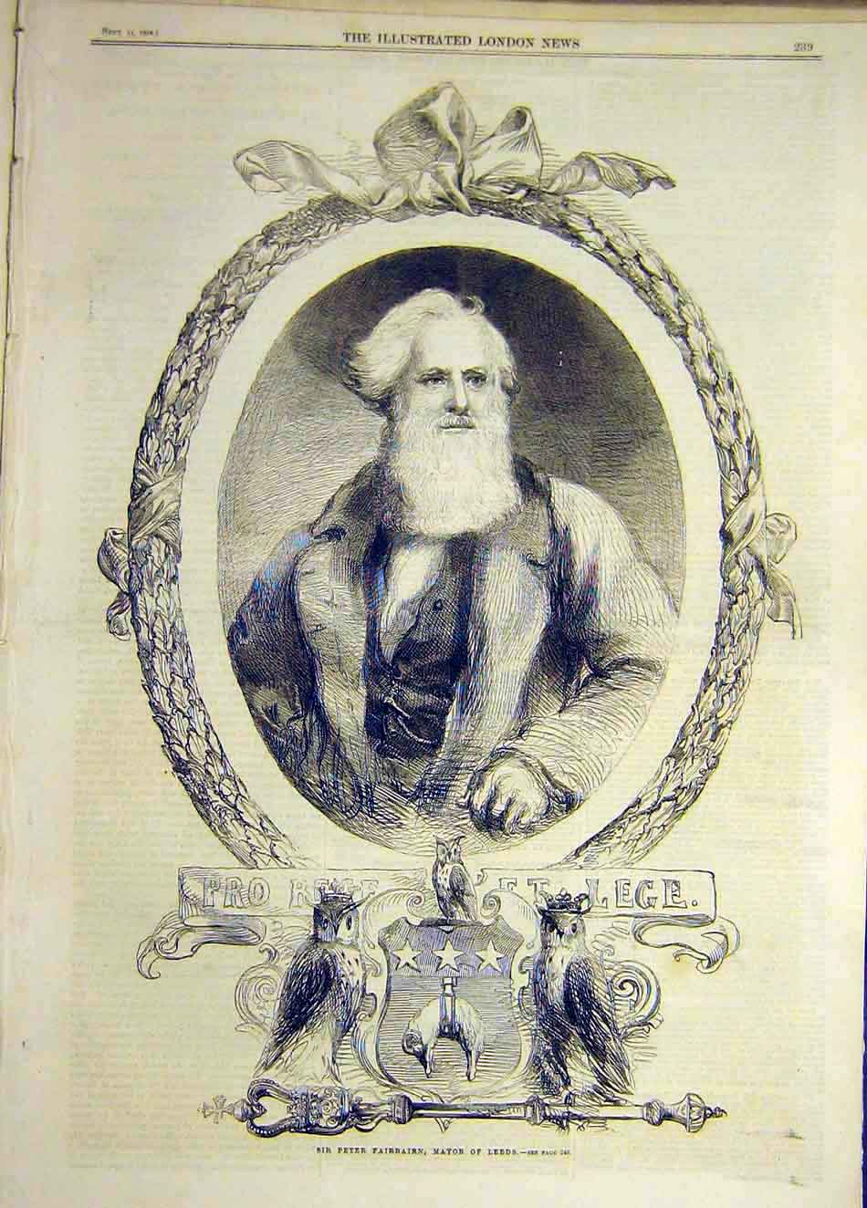 Print 1858 Portrait Fairbairn Mayor Leeds 407921 Old Original