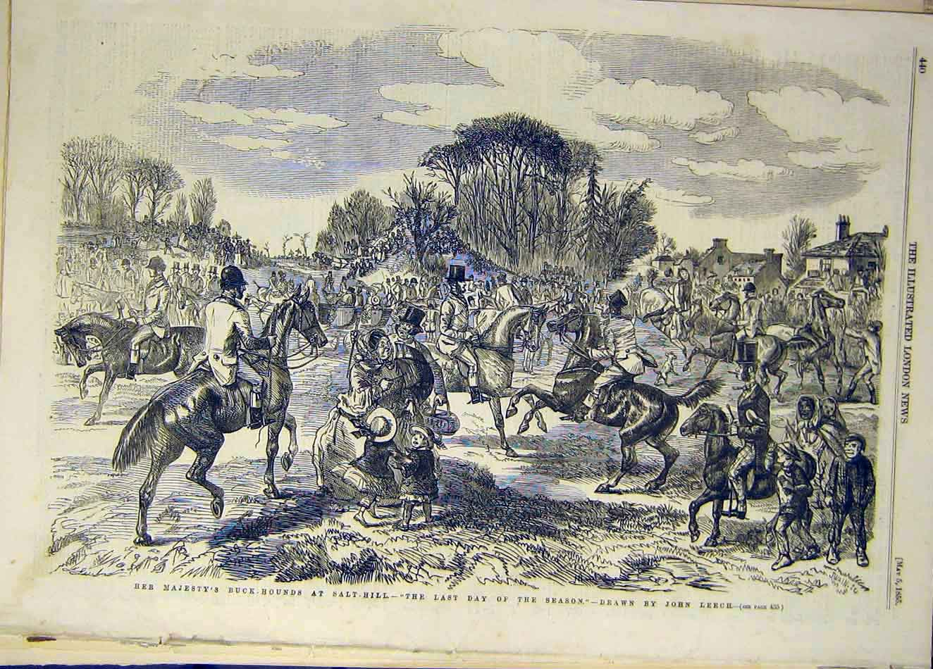 Print 1855 Buck-Hounds Salt-Hill Leech Sketch Hunt 427921 Old Original