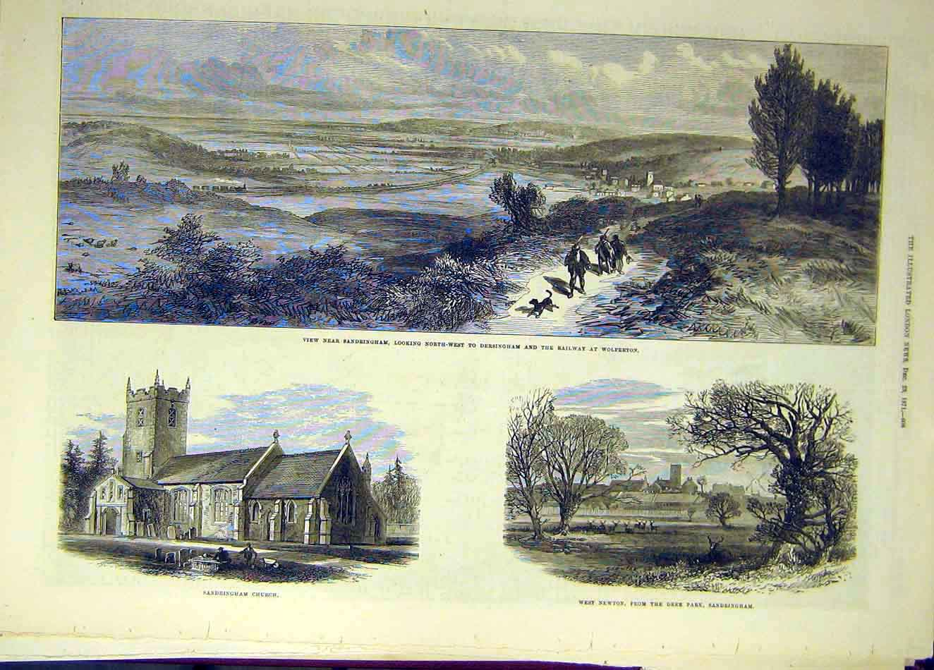 Print 1871 Sandringham Church Deer Park Railway Wolferton 467921 Old Original