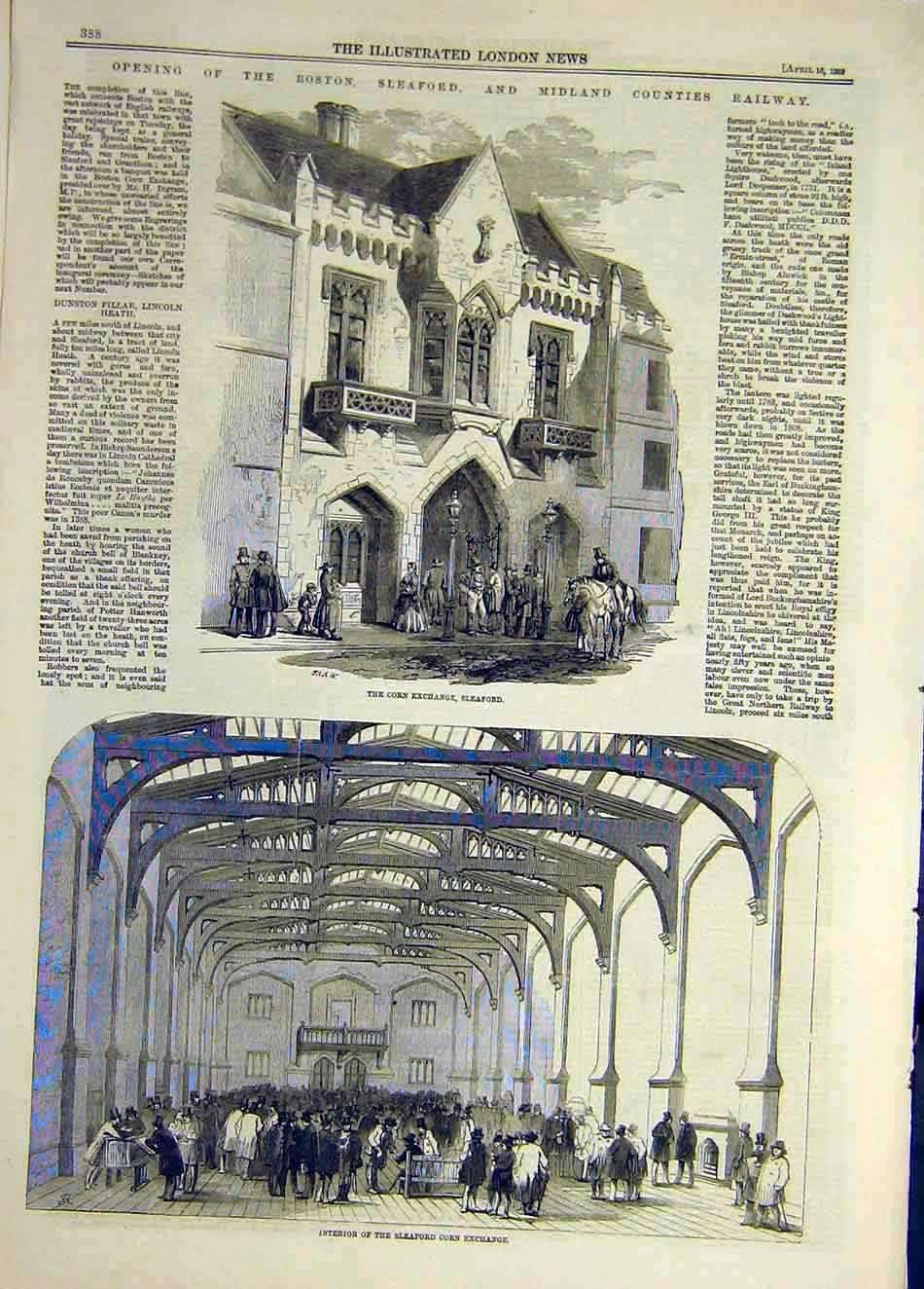 Print 1859 Seaford Corn Exchange Building Boston Railway 517921 Old Original