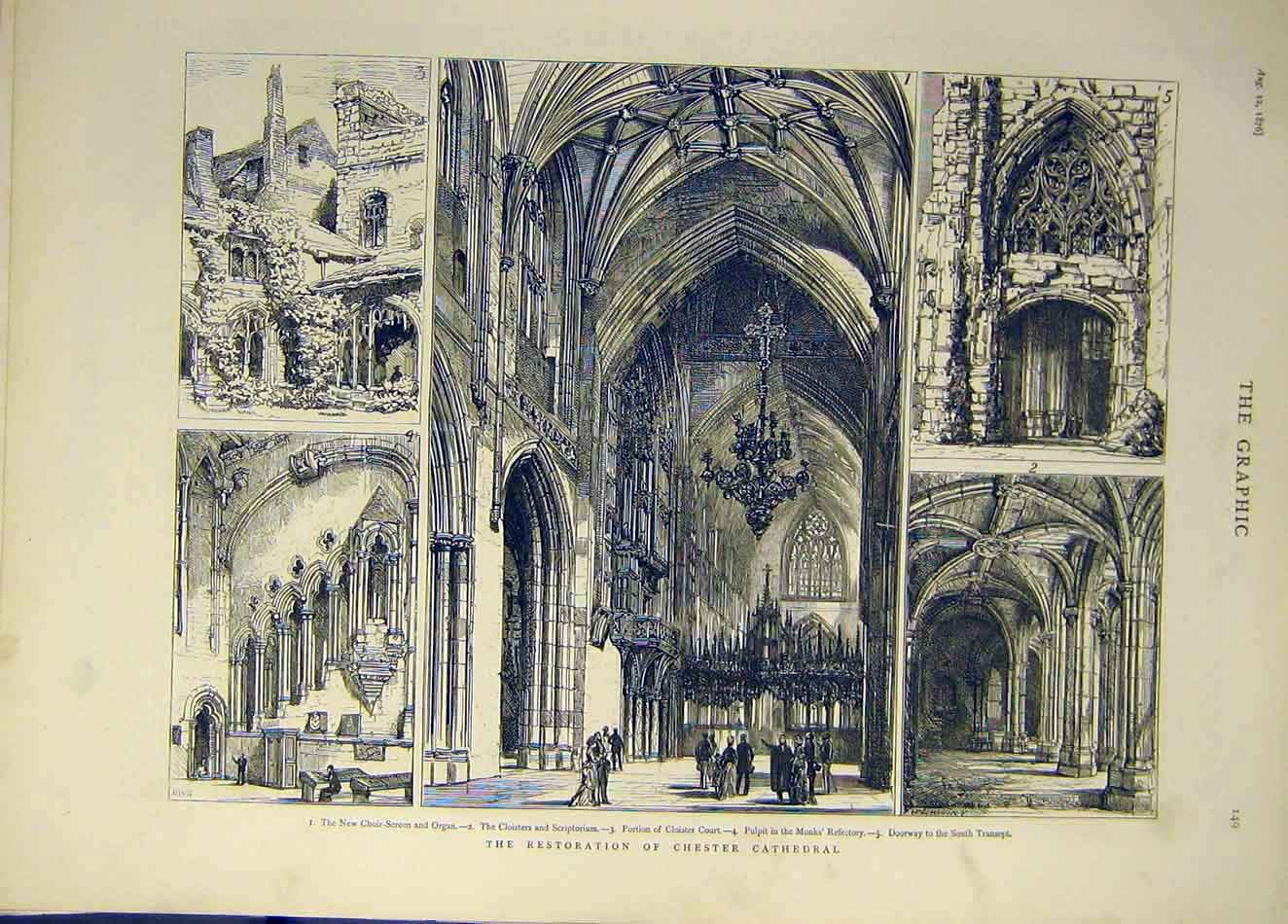 Print 1876 Chester Cathedral Restoration Building Cloister 567921 Old Original