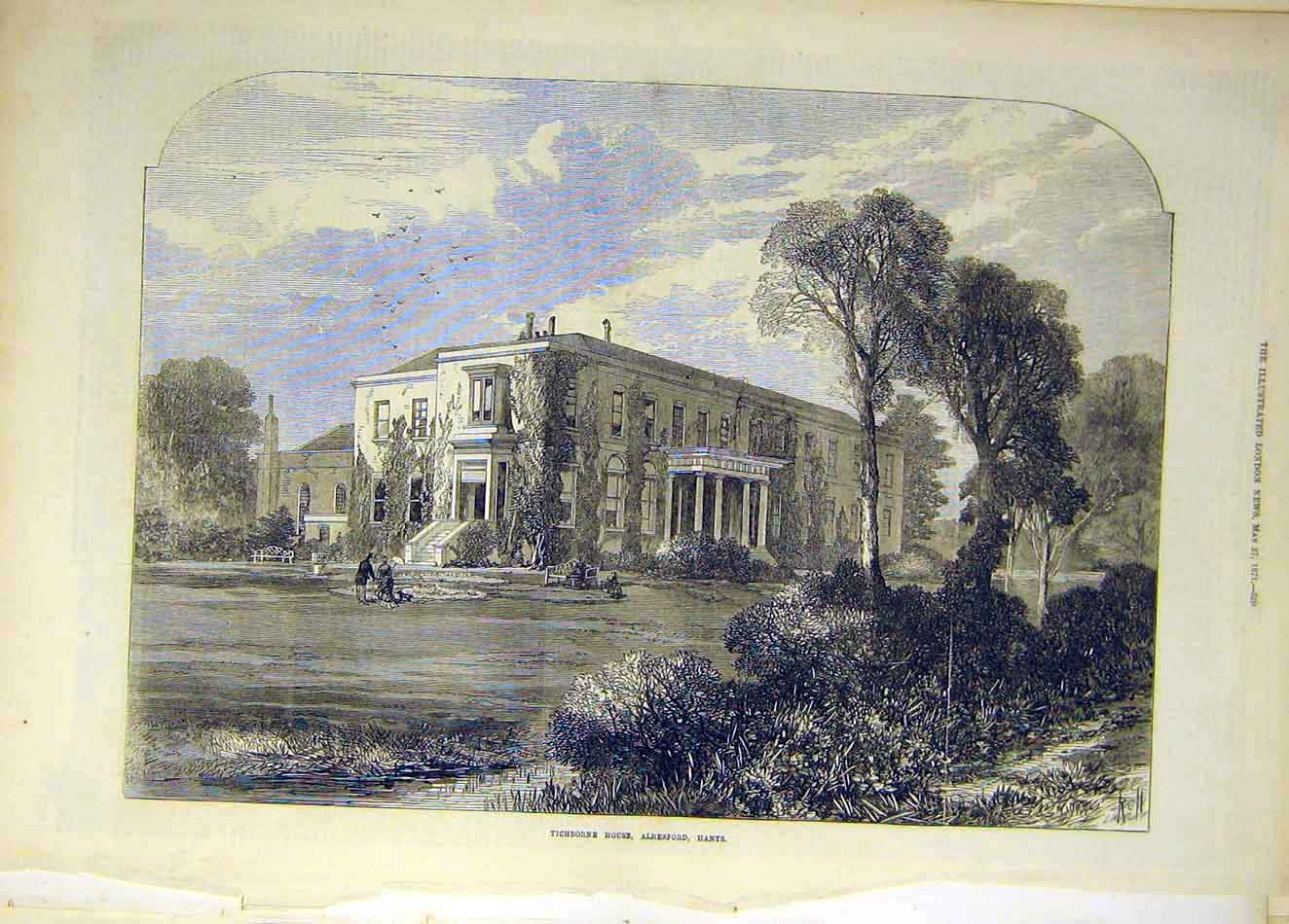 Print 1871 Tichborne House Alresford Hants Building 617921 Old Original