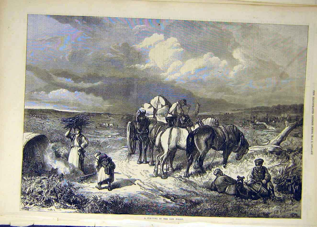 Print 1871 New-Forest Clearing Horses Goddard People 627921 Old Original