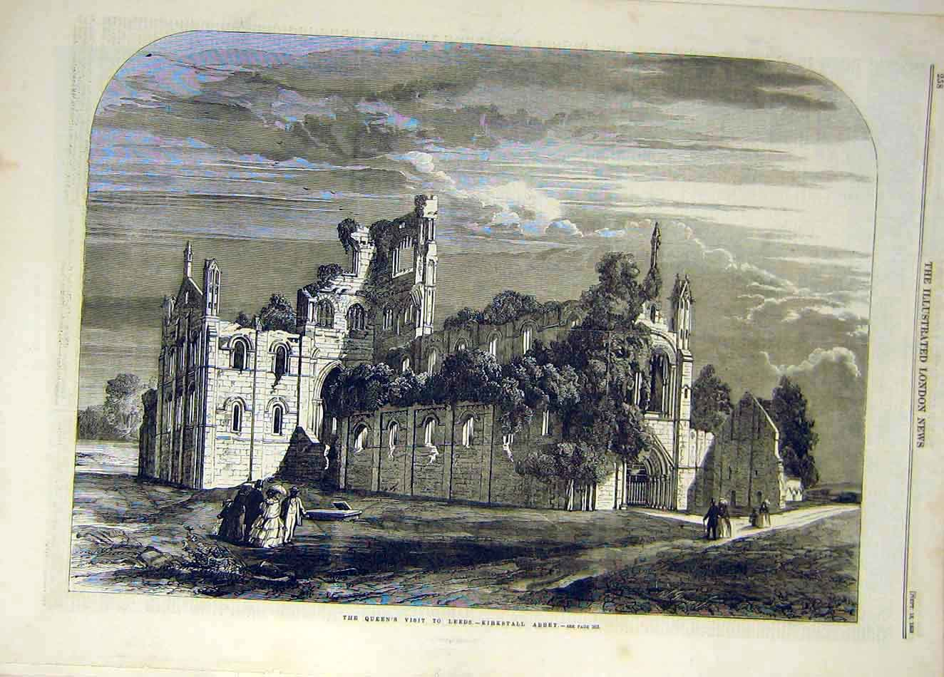 Print 1858 Kirkstall Abbey Queen Visit Leeds Building Ruins 687921 Old Original