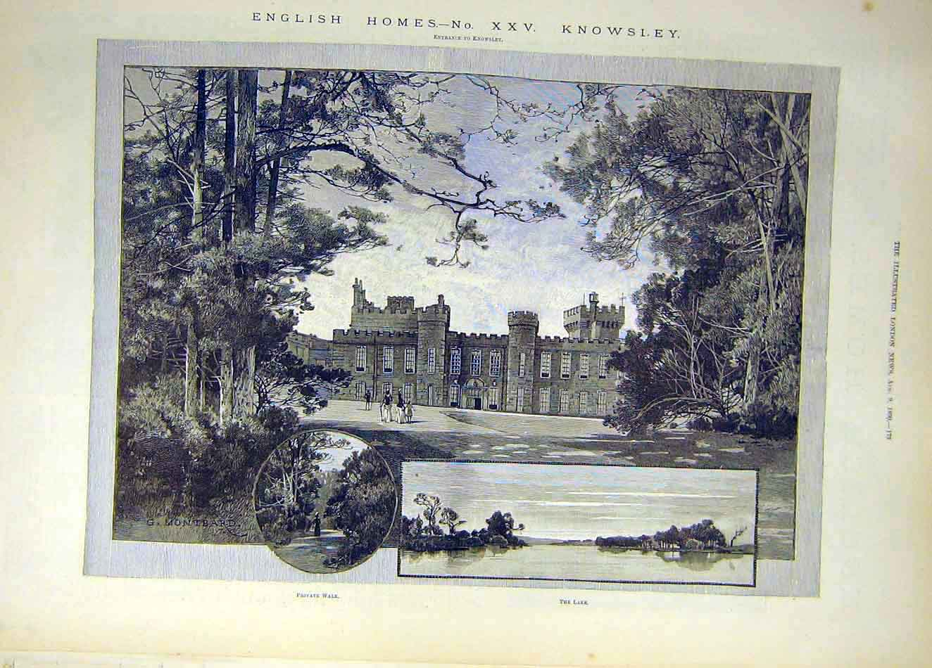 Print 1890 Montbard English Homes Knowsley Building Lake 737921 Old Original