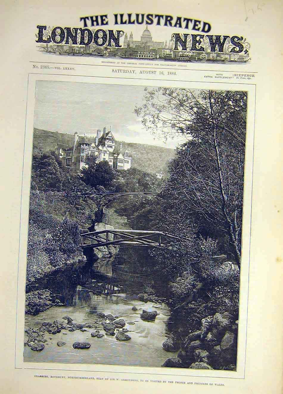 Print 1884 Cragside Rothbury Armstrong Northumberland 787921 Old Original