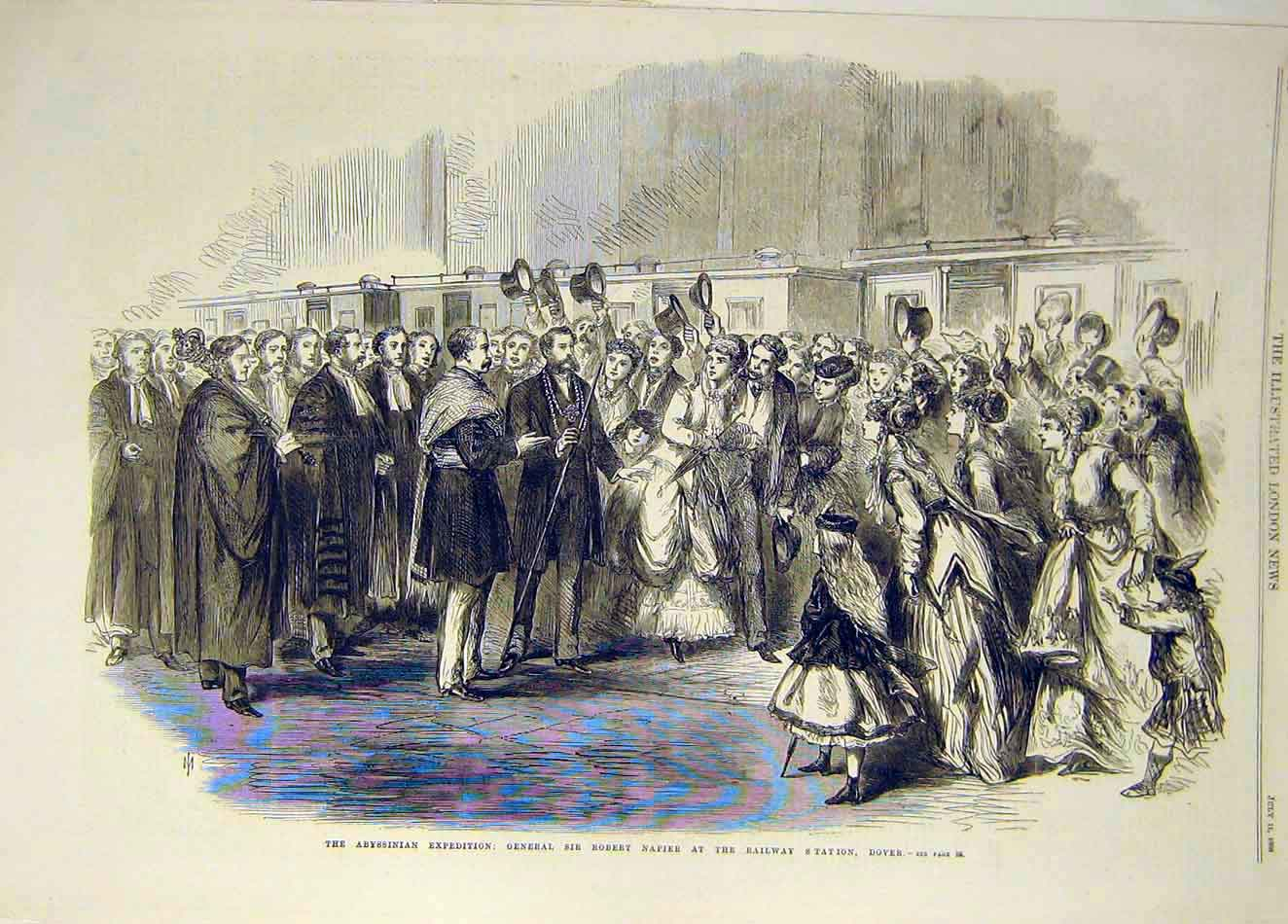 Print 1868 Abyssinian Expedition Napier Railway Station Dover 867921 Old Original