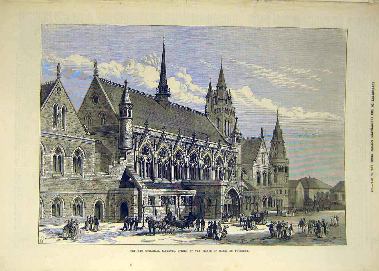 Print 1874 Guildhall Plymouth Prince Wales Building 897921 Old Original