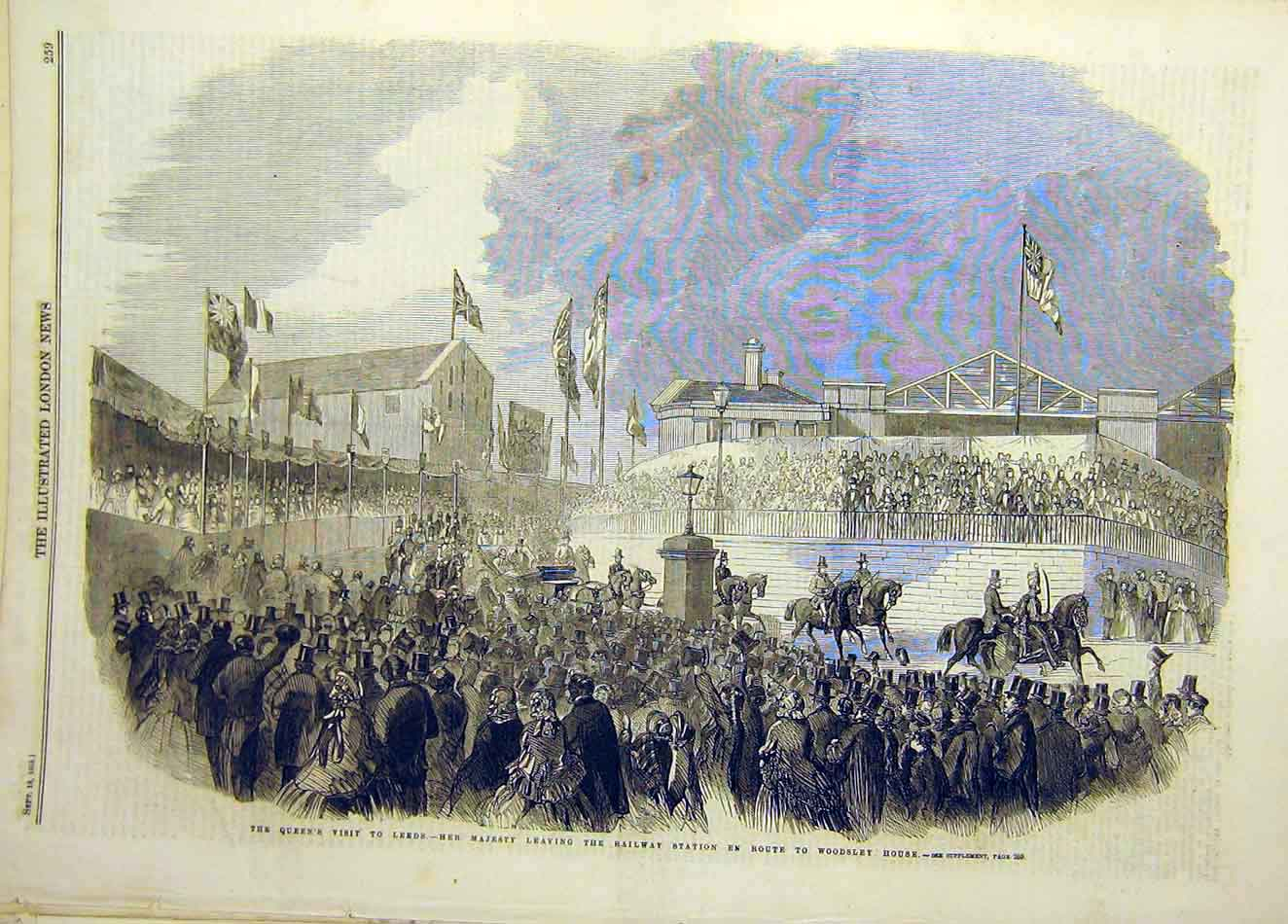 Print 1858 Queen Visit Leeds Railway Station Woodsley House 907921 Old Original