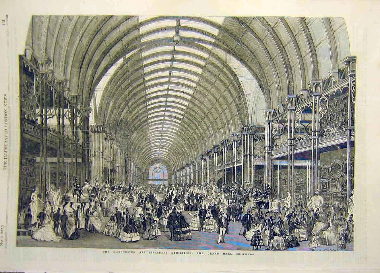 Print 1857 Manchester Art-Treasures Exhibition Grand-Hall 947921 Old Original