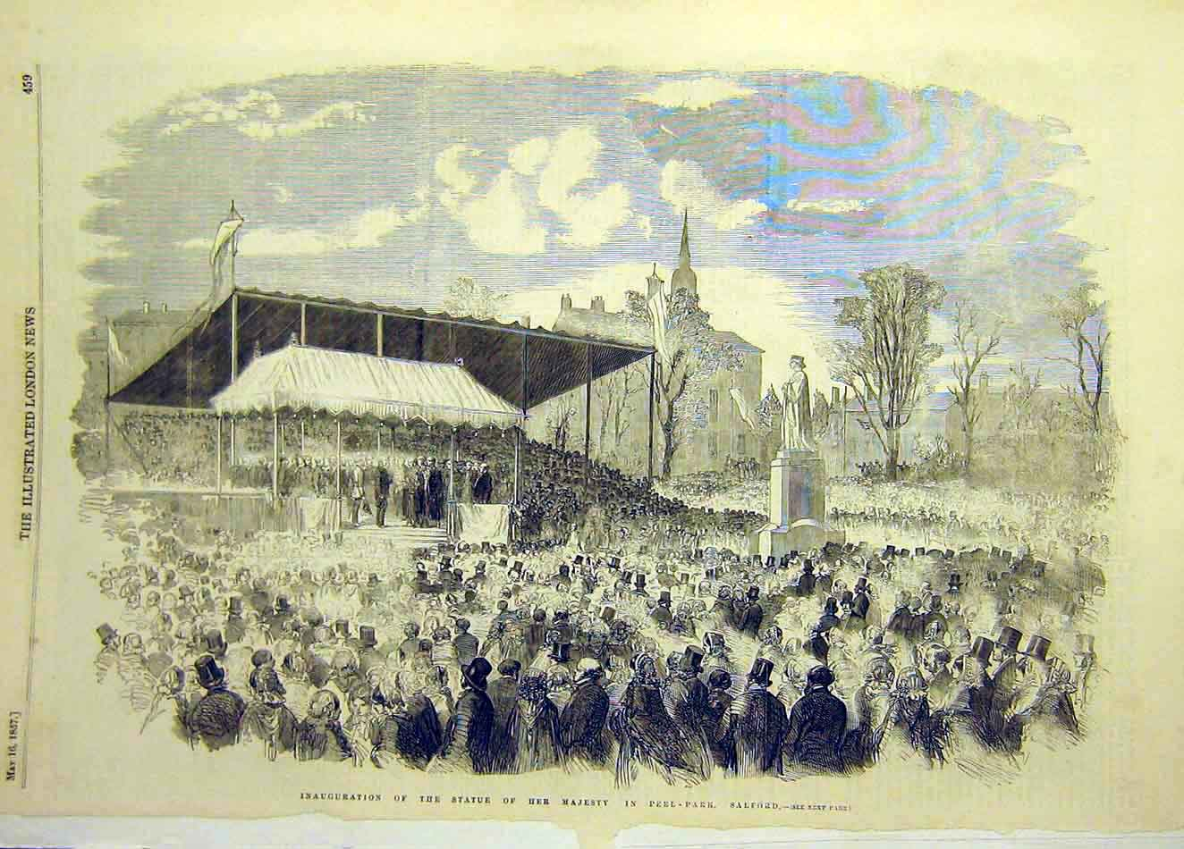 Print 1857 Statue Queen Peel-Park Salford Inauguration 957921 Old Original