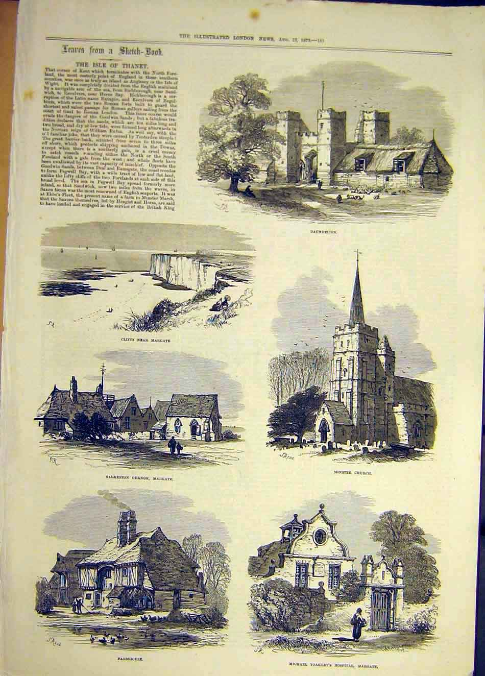 Print 1873 Isle Thanet Sketches Daundelion Margate Minster 967921 Old Original