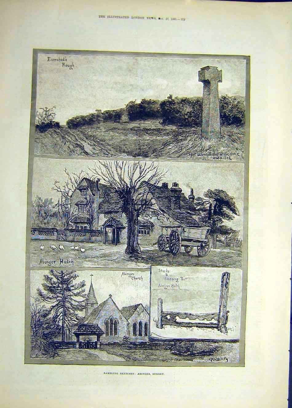 Print 1885 Rambling Sketches Abinger Surrey Building Church 987921 Old Original