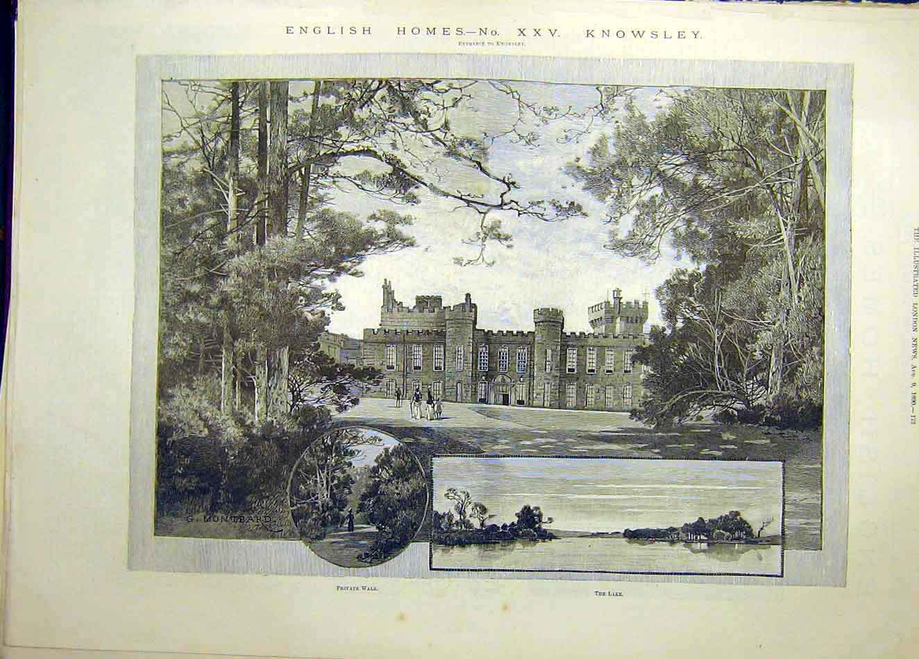 Print 1890 Knowsley English Homes Building 037921 Old Original
