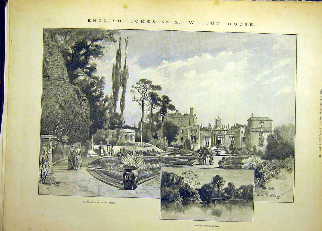 Print 1887 Montbard English Homes Wilton House Garden Lake 047921 Old Original