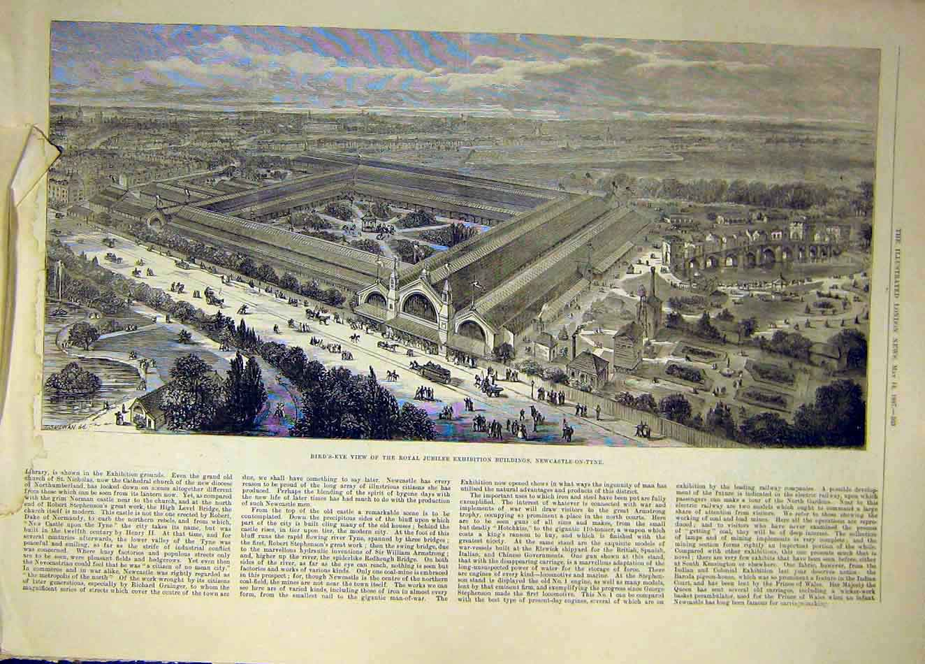 Print 1887 Newcstle-On-Tyne View Royal Jubilee Buildings 067921 Old Original