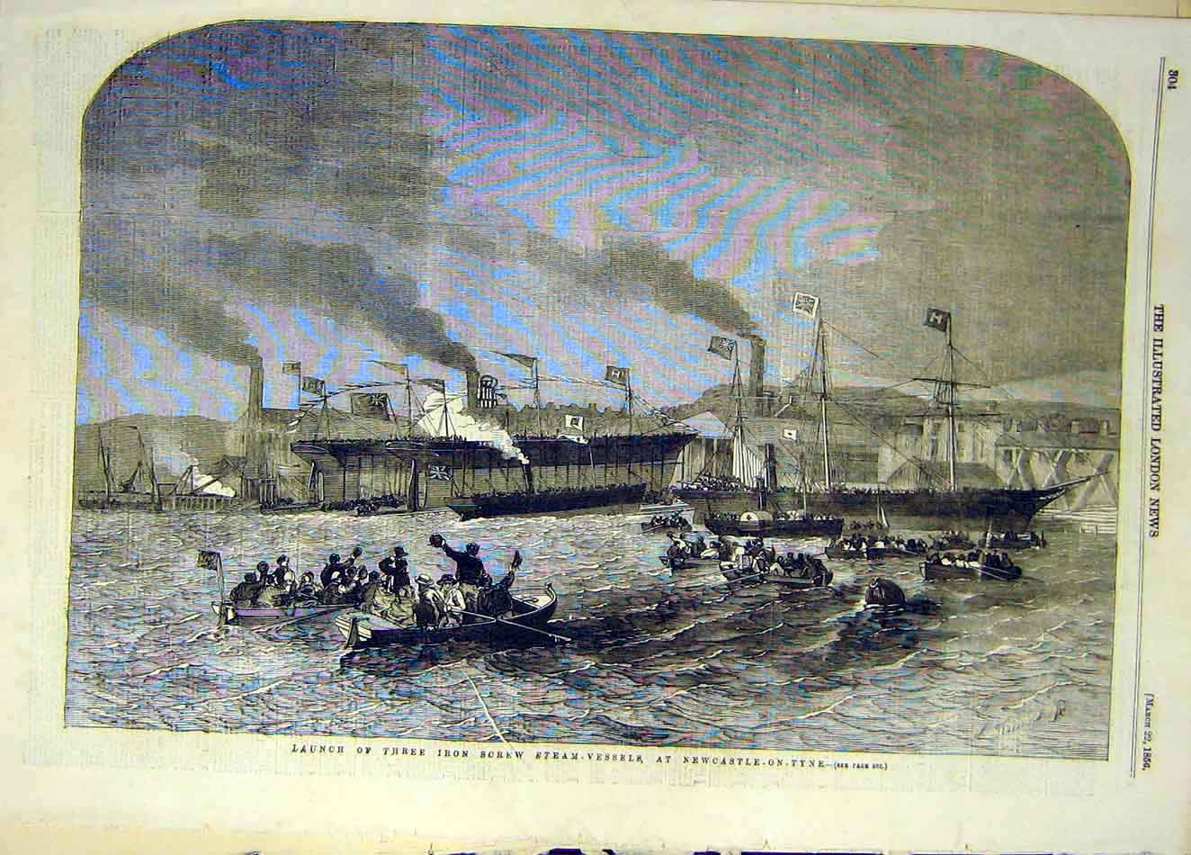 Print 1856 Launch Iron-Screww Steam-Vessel Newcastle-On-Tyne 157921 Old Original