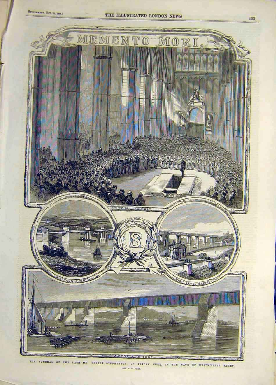 Print 1859 Funeral Stephenson Nave Westminster Abbey 167921 Old Original
