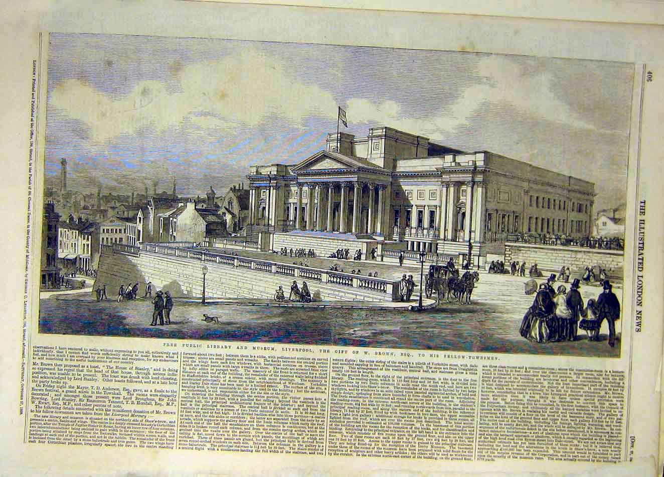 Print 1860 Free-Public Library Museum Liverpool Brown 227921 Old Original