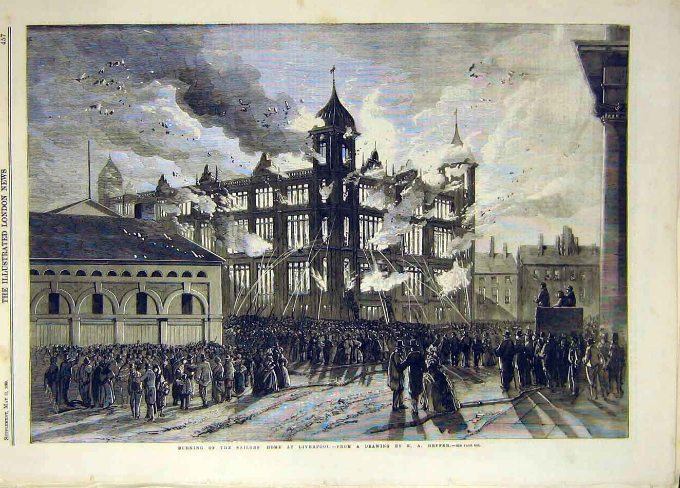 Print 1860 Sailors Home Fire Liverpool Heffer Building 237921 Old Original