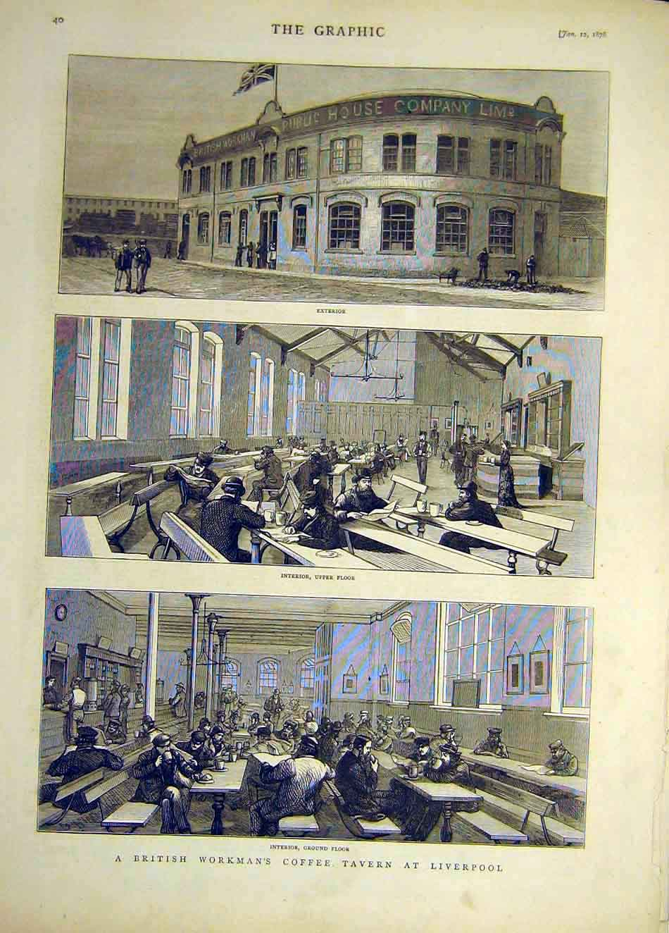 Print 1878 British Workman'S Coffee Tavern Liverpool 297921 Old Original