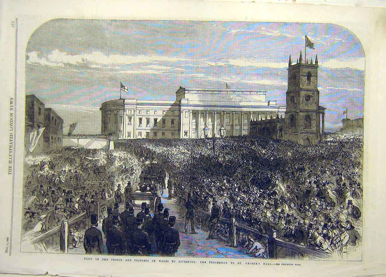 Print 1868 Prince Princess Wales Liverpool Procession 357921 Old Original